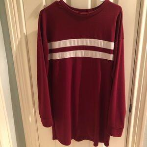 red long sleeved t-shirt dress